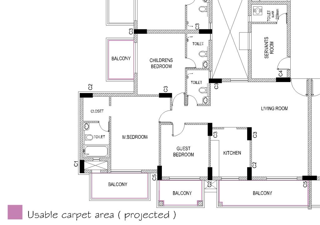 carpet area calculation