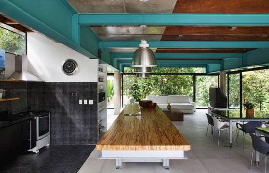 Contemporary Architecture of Iporanga House, Contemporary Architecture, Iporanga House, living, dining, kitchen area,
