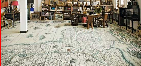 Country Drawing Map Flooring, Creative Inexpensive Flooring Ideas,
