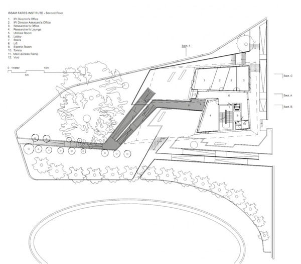 zaha hadid, Issam Fares Institute, architectural drawings,
