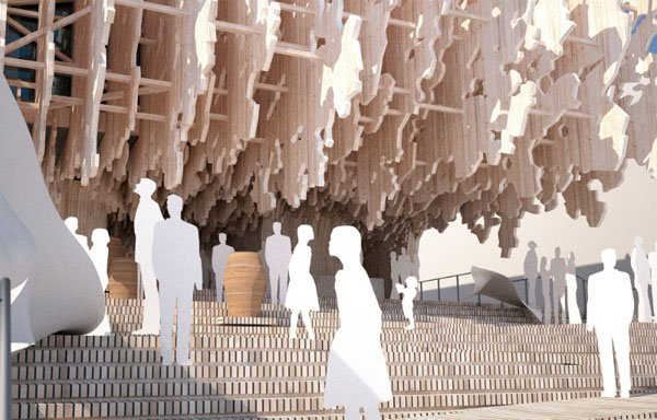 temporary architecture in milan expo, Latvia pavilion Milan expo,