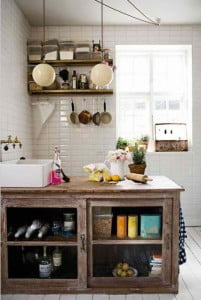 The pattern used for the subway tiles gives the kitchen a more modern appeal