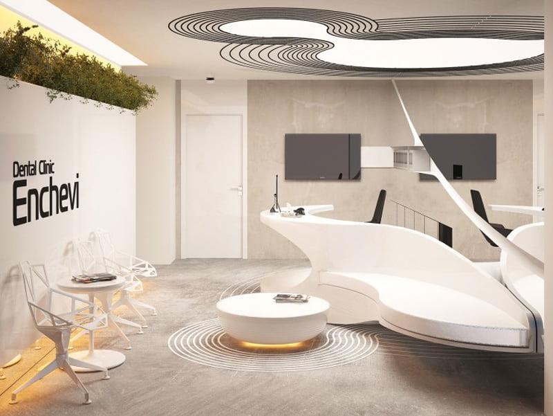 Organic architecture characteristics in this dental clinic interior concept for Dental clinic interior design concept