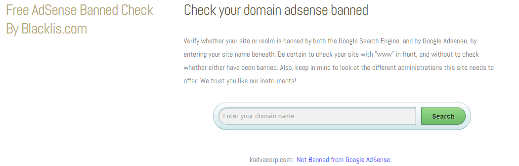 check your domain adsense banned