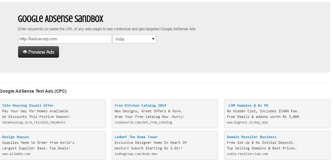 google-adsense-sandbox-kadvacorp-india