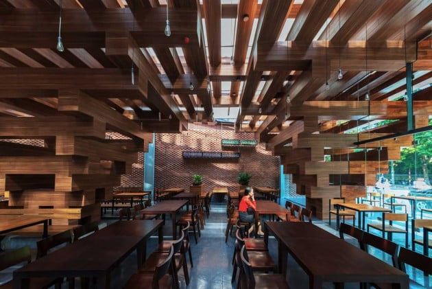 Contemporary Timber Architecture At Restaurant In Vietnam