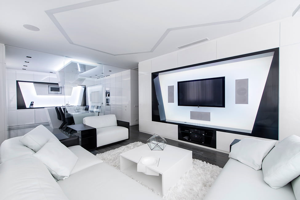 Modern interior design in black and white geometry gmd - Any design using black and white ...