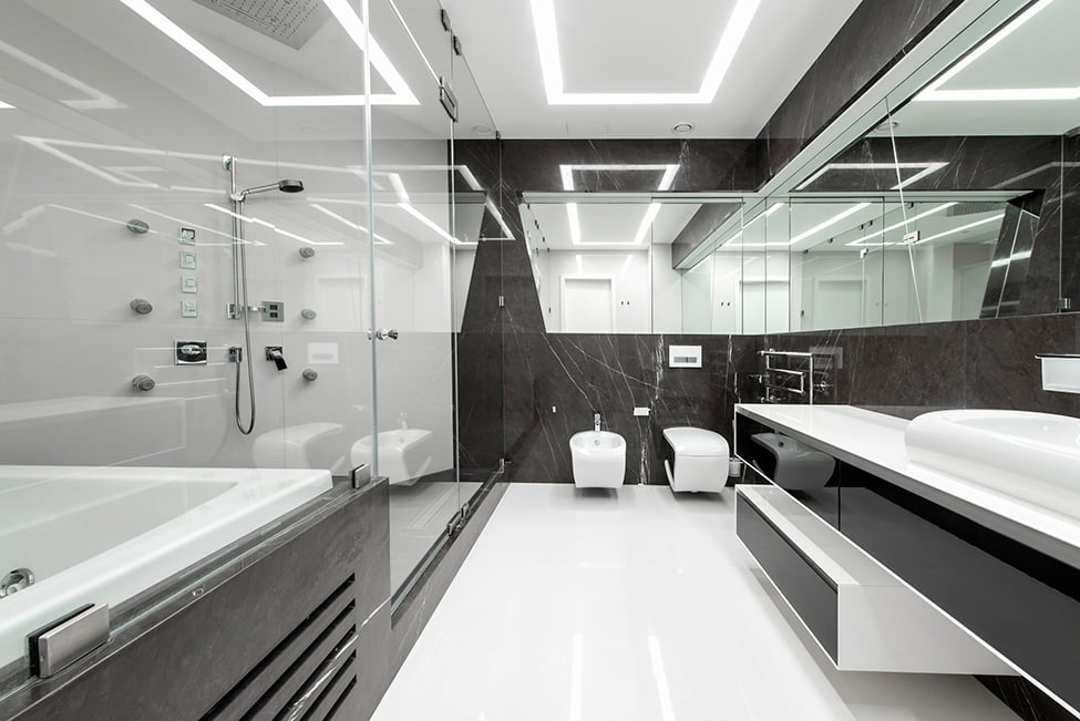 Modern Interior Design in Black and White Geometry by Geometrix Design, Moscow (5)