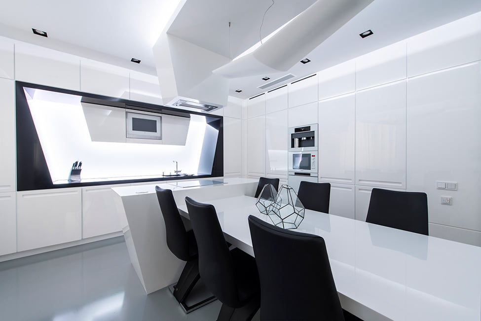 Modern Interior Design in Black and White Geometry by Geometrix Design, Moscow (6)