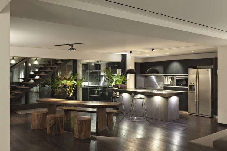 open floor plan penthouse interior design by aj architects kitchen designs small house interior compact furniture