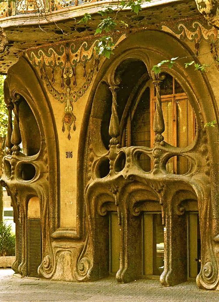 art nouveau architecture of balcony,