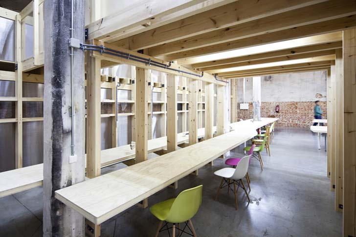 Modern Workspace, exposed wooden interior,