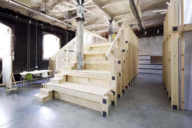 Modern Workspace, stair, wooden stair,