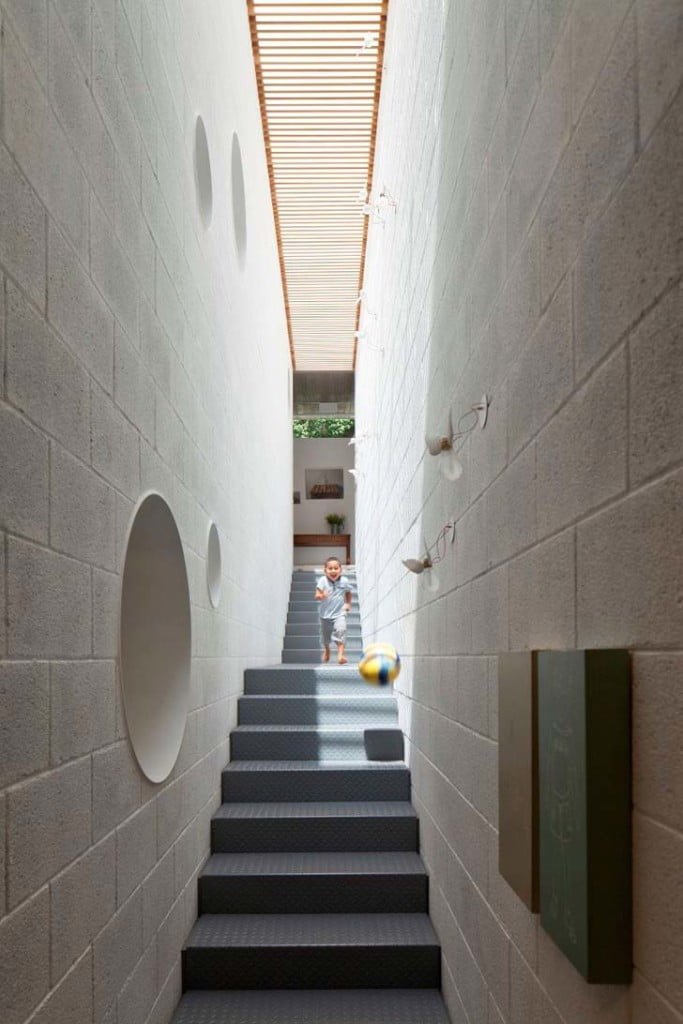exposed concrete staircase,