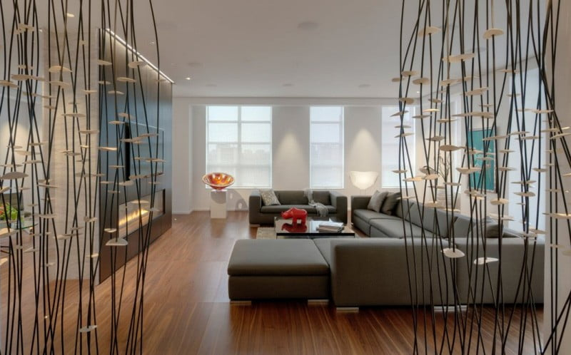 A modern penthouse interior decoration of apartment in Toronto Canada