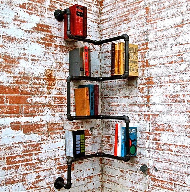 Industrial Corner Pipe Shelf, creative bookshelves design ideas, simple bookshelf design, bookshelf designs for small room, bookshelf ideas for small rooms, space saving bookshelves, bookshelf designs for home, bookshelves for small bedrooms, creative shelving for small spaces, modern bookshelf designs, wall mounted book rack, bookcase plans with doors