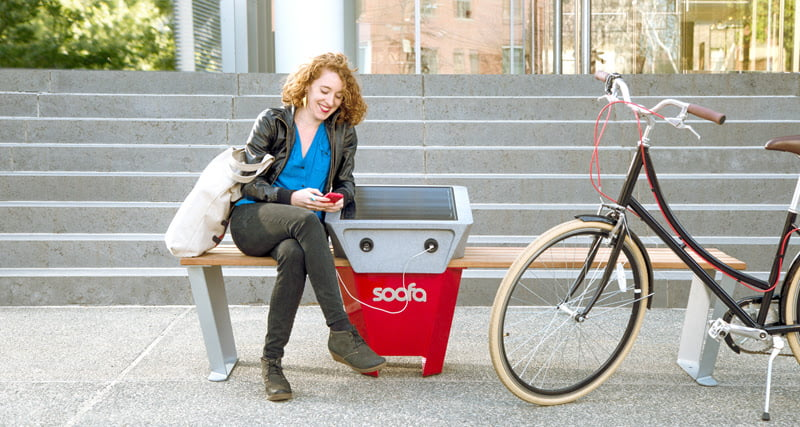 Soofa's solar bench lets people charge electronics on city streets for free 3