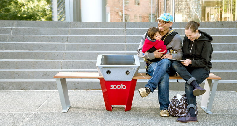 Soofa's solar bench lets people charge electronics on city streets for free