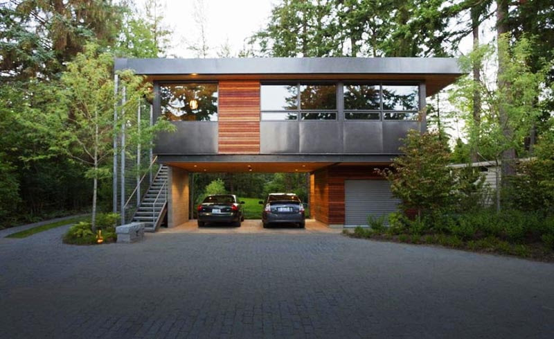Cool garage ideas for car parking in modern house for Cool modern house ideas