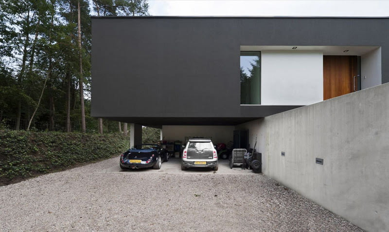 Cool garage ideas for car parking in modern house architecture - Terraced modern homes with underlying garage ...