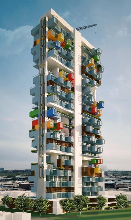 Shipping Container Homes Skyscraper For Dharavi Slum