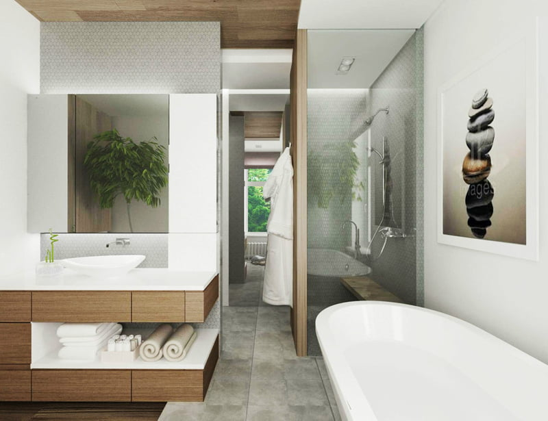 Introduce greenery between bathroom vanities and tub to feel nature close to you,