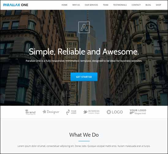 PARALLAX ONE FREE WORDPRESS THEME, Free Responsive WordPress Themes,