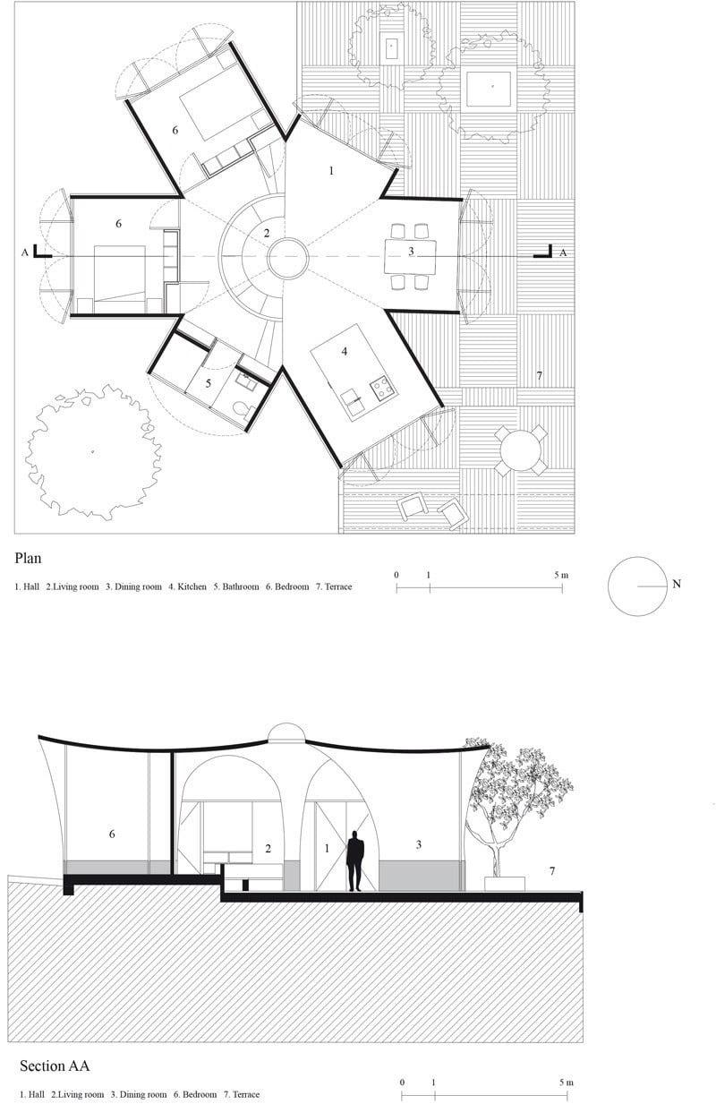parabolic vaulted ceiling house design plan,
