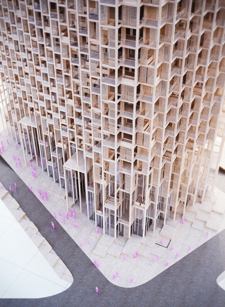 Vertical Green Tower Housing architecural model 1