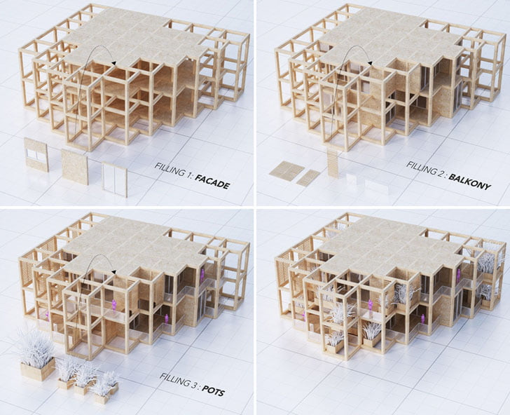 Vertical Green Tower Housing architecural model