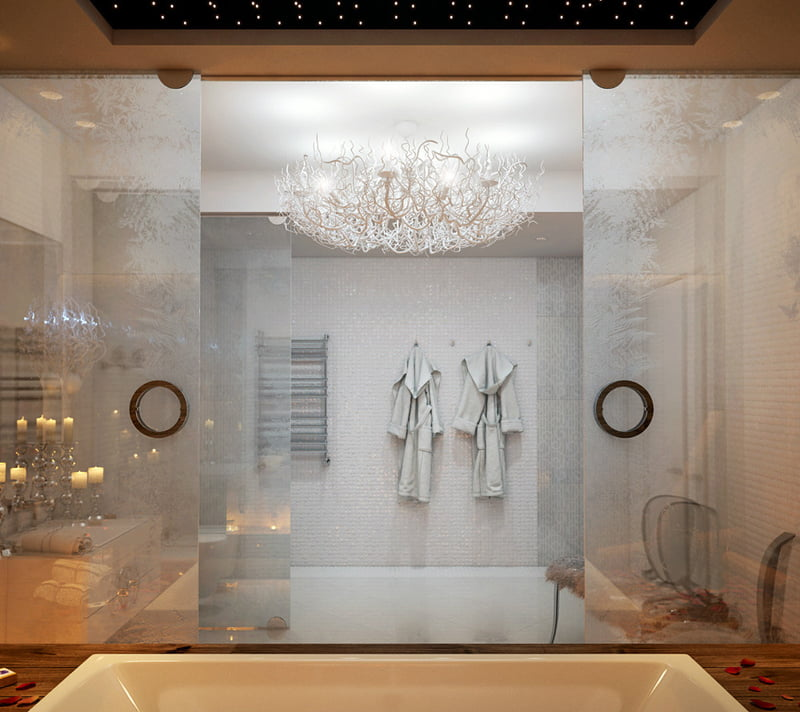 luxury cool bathrooms with sliding glass of bath area