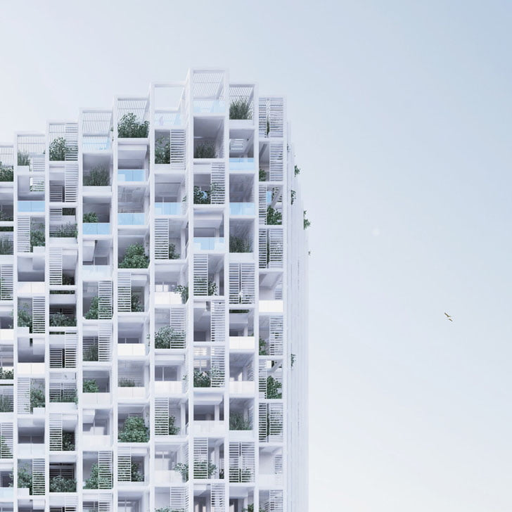 the high-rise is to be built using modular components