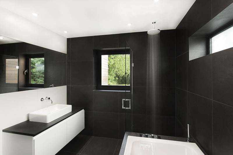 Black And White Bathroom Is In A Home In Hampshire, England, Designed By AR