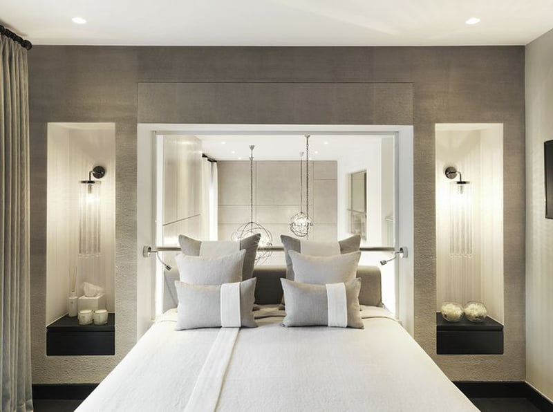 headboard mirror design in bedroom decoration