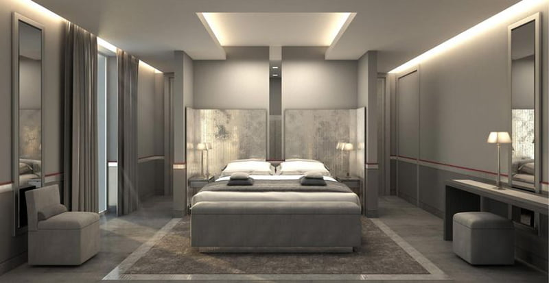 lusty gray color combination in bedroom decoration