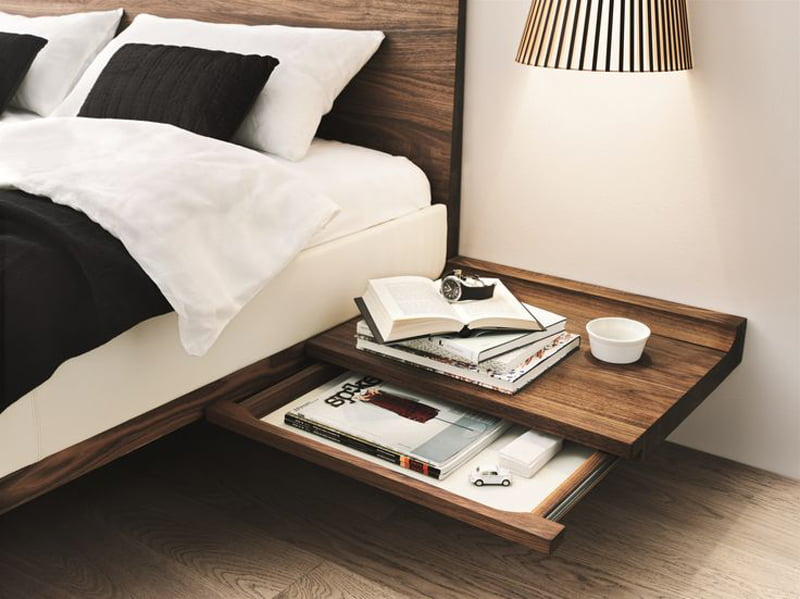 multi purpose side table in bedroom decoration