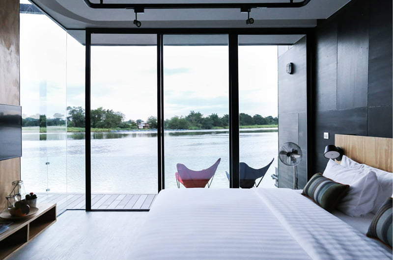 Floating Holiday Homes bedroom of River Kwai Thailand (4)