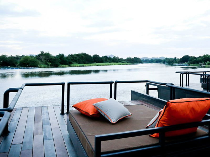Floating Holiday Homes upper deck of River Kwai Thailand (10)