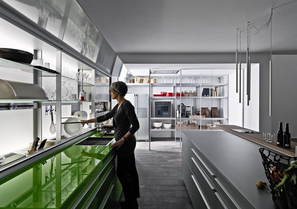 Valcucine - Kitchen Cabinets Design By New Logica System-verde_lucido-