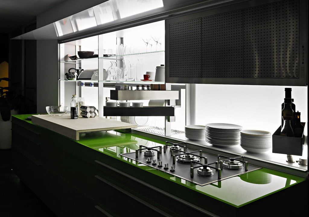Valcucine - Kitchen Cabinets Design By New Logica System-verde_lucido- (1)