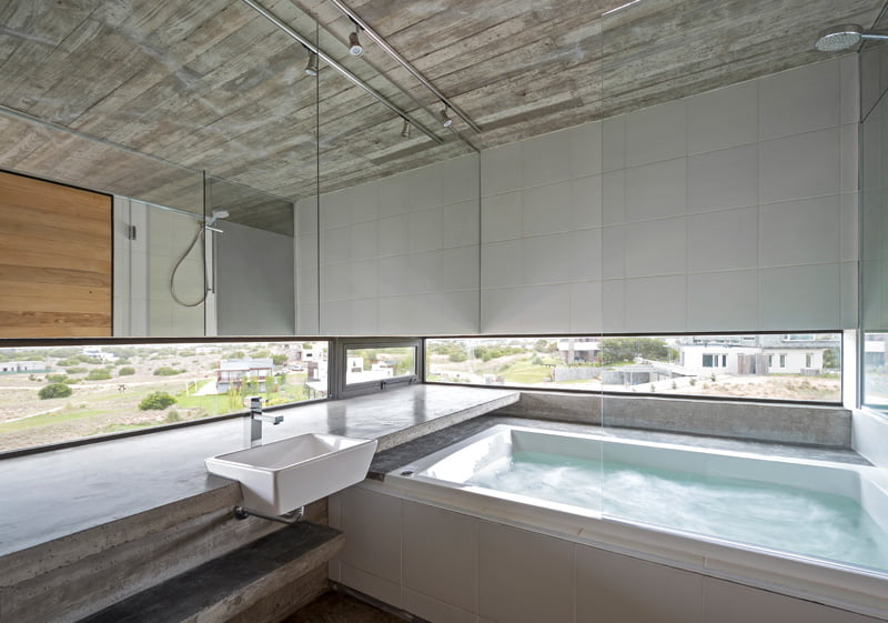 exposed concrete modern house bathroom vanity