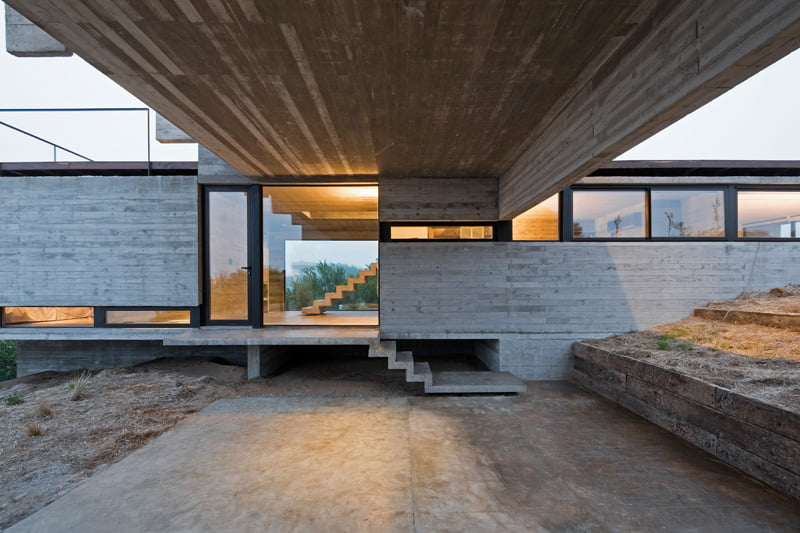 exposed concrete modern house entrance porch