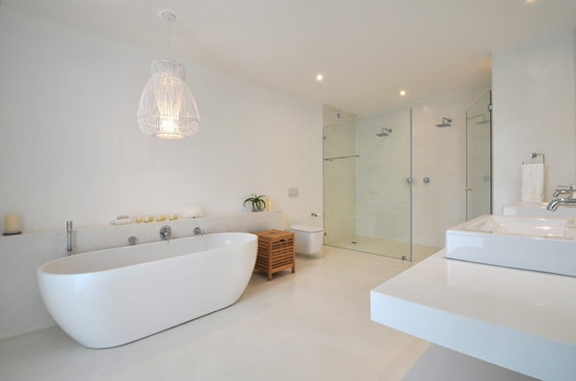 White Color, elegant white bathroom space,
