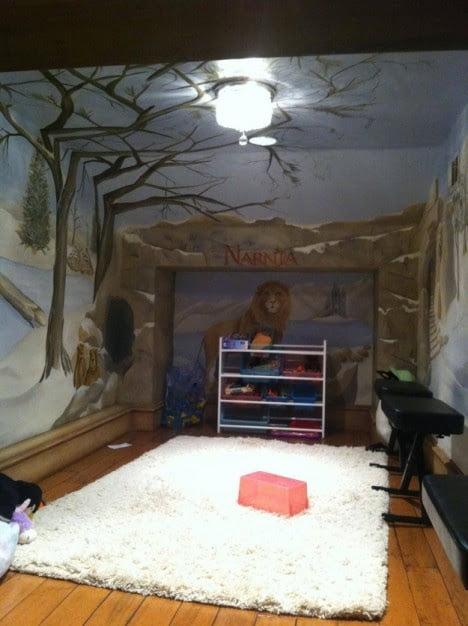 Hidden Bookshelf Door of Secrete Playroom Behind Wardrobe 3