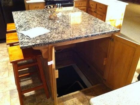 Hidden Door for Storm Shelter Under a Kitchen Island