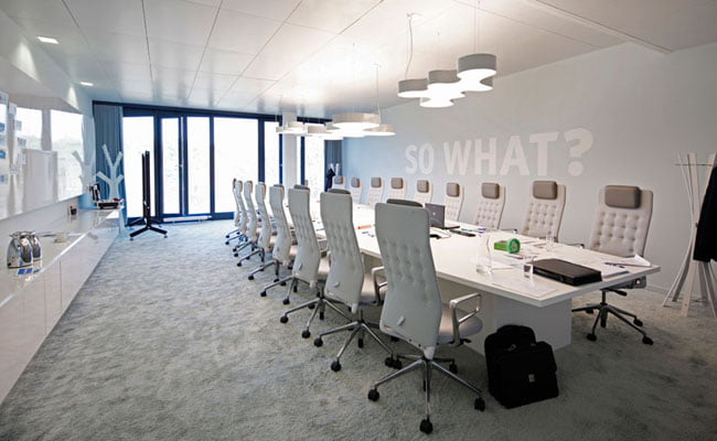 Interior of the meeting rooms of team bank's new german HQ
