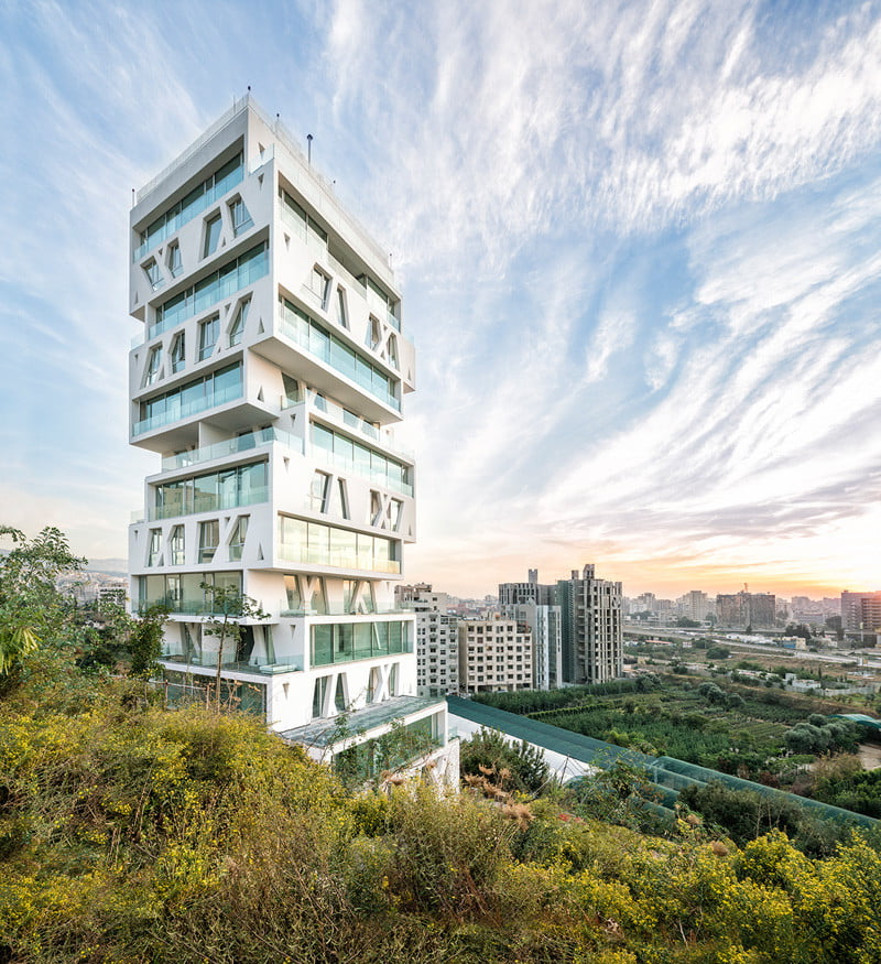 Residential Tower Elevation with the cube Stacked Box By Orange Architects in Beirut, Lebanon (1)