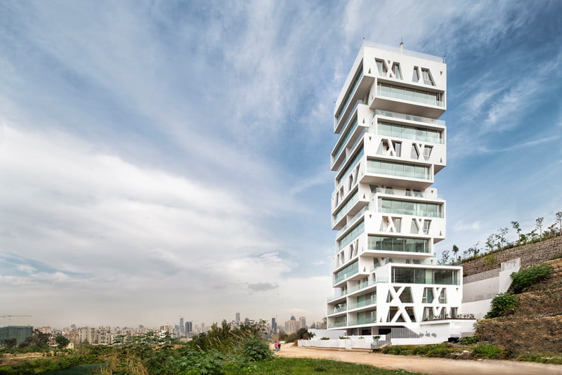 Residential Tower Elevation with the cube Stacked Box By Orange Architects in Beirut, Lebanon