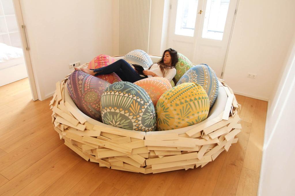 Unique Bed Design Idea from Bird Nest in Creative Interiors 2