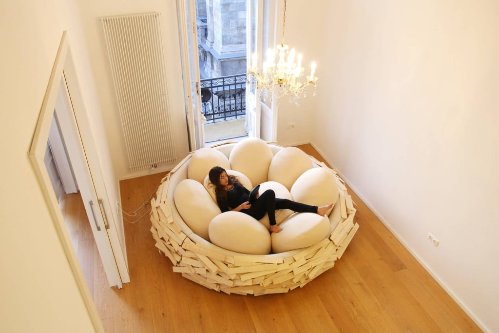 unique bed design idea from bird nest in creative interiors 3 - Design Idea